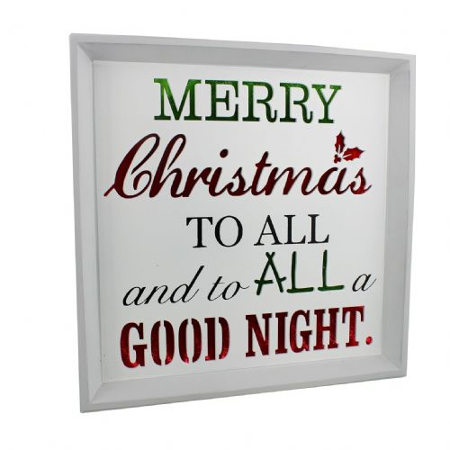 Merry Christmas To All Light Up Worded Plaque - Twas The Night Before Christmas Quote